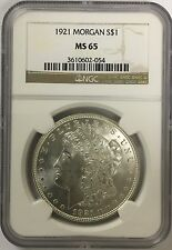 1921 Morgan Silver Dollar NGC MS65