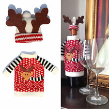 2Pcs Christmas Santa Clause Clothing Hat Dress Wine Bottle Cover Decoration Gift