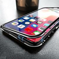 Metall Bumper iPhone 11 Pro Max Magnet Case Schutz Hülle Glas Cover Handy Tasche