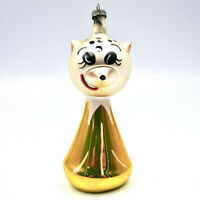 "De Carlini Cat Christmas Ornament 4"" Gold Blown Glass Italy Vintage"