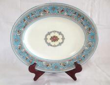 "Wedgwood Florentine Turquoise Blue Oval Serving Platter 14"" x 11"""