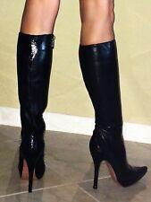 Sexy Genuine Black Italian Leather High Heel Fashion Boots Size 6 • EU 36.5