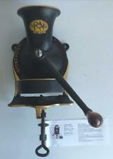 More details for vintage large spong cast iron coffee grinder/mill, no 4, with tin tray, black,