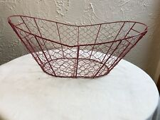 Farmhouse style chicken wire basket Red with handles euc