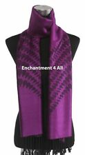 4Ply Jacquard 100% Cashmere Pashmina TEAR DROPS Handmade Shawl Wrap Scarf Purple