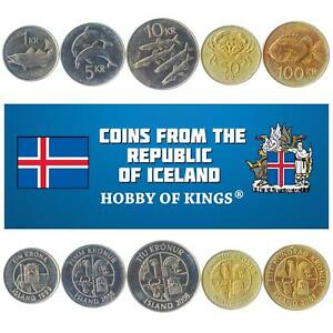 SET OF 5 COINS FROM ICELAND: 1, 5, 10, 50, 100 KRONUR. 1987-2011