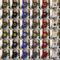 AU Women's Summer Sunflower Print Blouse Round Neck Sleeveless T-shirt Tops Tank