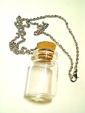 "Mini Empty Glass Bottle Necklace, DIY Craft Necklace, 1.25"" Bottle w/ 18"" Chain"