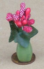 1:12 Scale Red Berry Bunch In A Green Ceramic Vase Dolls House Flowers G28
