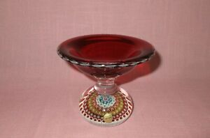 Vintage St Saint Louis French Crystal Art Glass Millefiori Paperweight Compote