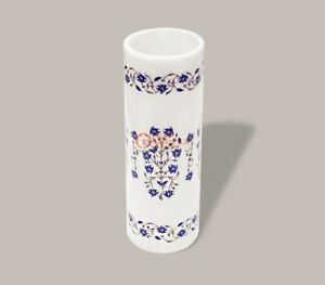 White Flower Vase Handmade Lapis Inlaid Marqutery Floral Design Collectible Gift