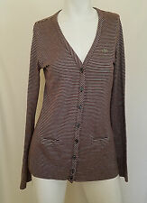 Lacoste Sweater Cardigan 38 Brown Button Down V Neck Long Sleeves Striped