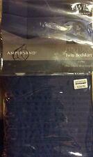 "Ampersand Pintuck Twin Size Bedskirt Navy Tailored Split Corners 15"" Drop NEW"