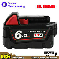 18V 6.0Ah Lithium XC6.0 Battery for Milwaukee M18 48-11-1850 48-11-1852 Cordless