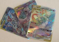 Mew + Mewtwo GX Rainbow - 3 Pokemon Cards Tag Team Bundle