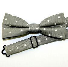 Grey Polka Dot Mens Bow Tie Pre Tied Gray Dress Fashion w/Manufacturers Flaw