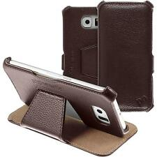 genuine Leather Case for Samsung Galaxy S6 - Leather-Case brown + glass film