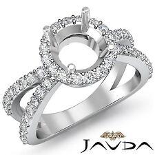 0.75Ct Diamond Engagement Filigree Ring Split Shank Round Semi Mount Platinum