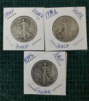 1934 P,D,S Silver Walking Liberty Half Dollar