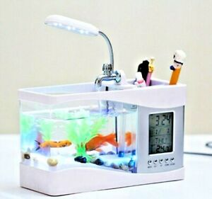 Mini Betta Fish Tank Desktop Marine Aquaponic Aquarium With LCD Clock and Lamp
