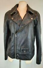 Topman Faux Mens Leather Biker Jacket Black Padded Retro Size Medium 50s
