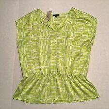 Ann Taylor Blouse Top Shirt Medium Neon Green Cap Sleeve Peplum Elastic Waist