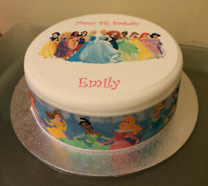 Disney Princess 02 pre-cut Edible Icing Cake Topper or Ribbon - Princesses