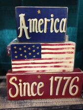 America since 1776 wood sign stacking blocks Patriotic 4th of July decor home