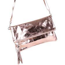 TOP Metallic Cross Bag Glitzer Clutch Tasche Leder Rose Gold Quasten Fransen NEU