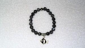 Black Natural Labradorite Larvikite Enamel Fish Charm Stretch Bracelet Jewelry