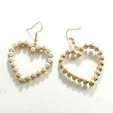 Piercing Earrings White Pearl Love Heart Earring Drop Dangle Women Jewelry