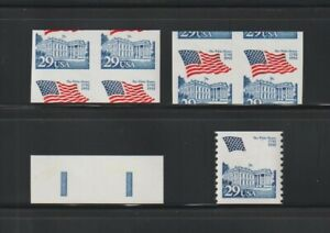 US EFO, ERROR Stamps: #2609a + Flag: 3 diff. imperf and miscut pairs + MNH