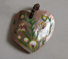 hand painted flowers seed bale quirky Mother of pearl Heart pendant
