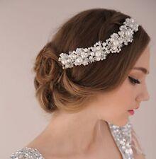 Princess Wedding Bridal Prom Party Pearl Crystal Flower Tiara Headband Hair Band
