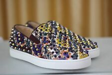 NEW CHRISTIAN LOUBOUTIN Roller Boat Flat Spikes Python Sneaker Loafers Shoe EU40