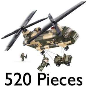 SLUBAN ARMY CHINOOK HELICOPTER 520pcs CONSTRUCTION BUILDING BRICKS AIRCRAFT 0508