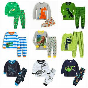 Age 1-7Y Boys Kids Dinosaur Pyjamas Pj's Nightgown Sleepwear Homewear Nightwear