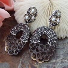 Rhinestone Pave Black Mop Carved White Pearl Earrings