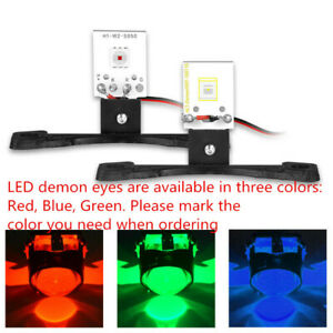 2x Red Blue Green LED Devil Demon Eyes DRL Car Headlight Projector Lens Retrofit
