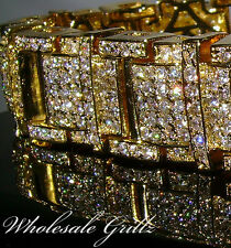 "STUNNING *2ND* $325 Mens Size 8"" CUSTOM Simulate Diamond 14k Gold Gp Bracelet!!!"