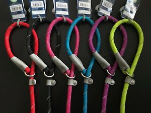 ANCOL NYLON ROPE RAMBLER GUNDOG SLIP LEAD REFLECTIVE or DELUXE -NUTS ABOUT MUTTS