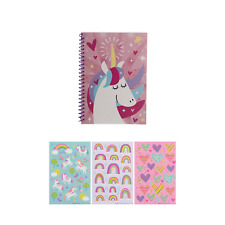Unicorn Spiral Notebook and Sticker Set for Kids - 6' x 8' Journal with Unicorn