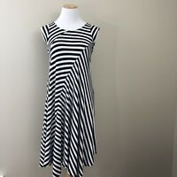 Premise Womens Swing Dress Size Small Cap Sleeve Striped Knit Black White