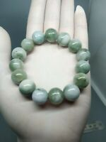 13.5mm Green&White Beads Bracelet 100%Authentic Natural A Burmese Jadeite Jade