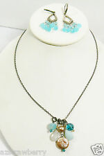 Handcrafted Sterling Silver 925 Blue Carnelian Keshi pearl Necklace & Earrings