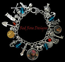 ~THE PIRATES OF THE CARIBBEAN INSPIRED CHARM BRACELET, CAPTAIN JACK SPARROW~