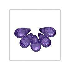 Cubic Zirconia Briolettes 4x6 10pc Amethyst #64026