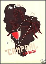 PUBBLICITA' 1937 CAMPARI BITTER DRINK BAR APERITIVO PUROSANGUE CAVALLO ORSI