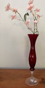 Pretty Red Ruby Art Glass Vintage Vase Japan Star With Sticker