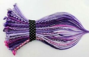 Purple & Pink Mix Synthetic Dreads, 20 Inches, SE & DE Dreads, Thin, Natural